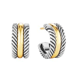 David Yurman Cable  Hoop Earrings With 14k Gold